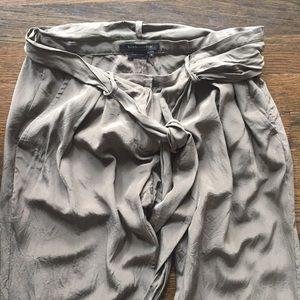 BCBGMaxAzria 100% Silk Pants Olive Khaki Green